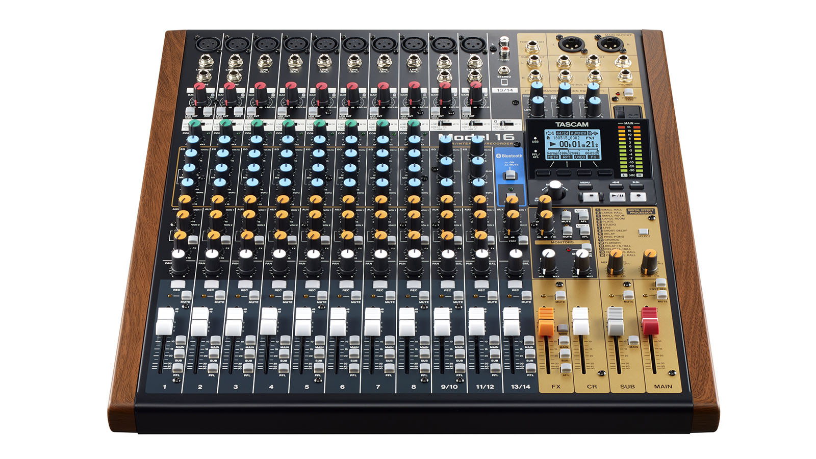 Model 16 has the feel of an analogue mixer but with the recording quality of a modern digital record