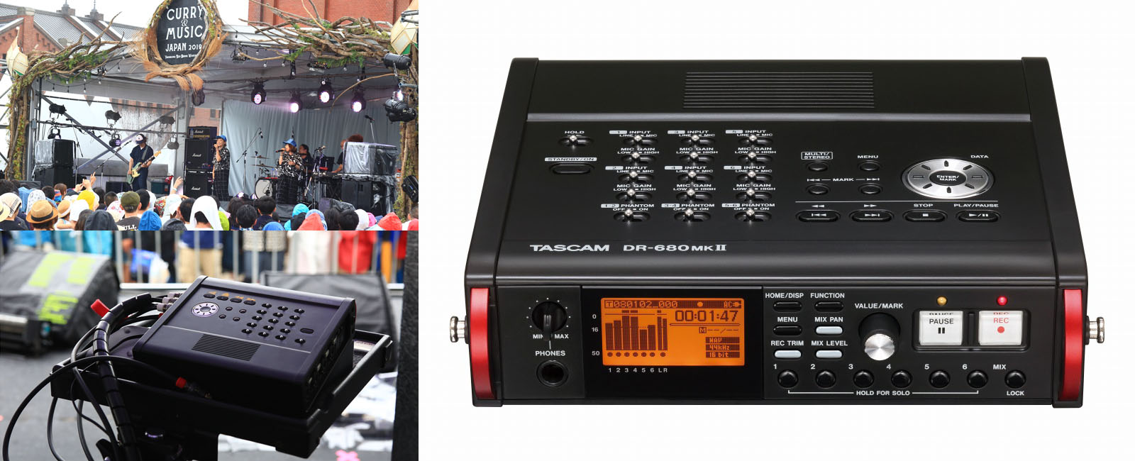 TASCAM DR-680MKII field recorder used for click/backing track playback