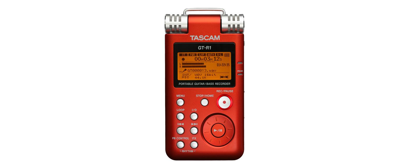 Tascam: pirosra festett DR-1, mint GT-R1 mobil gitár/basszus felvevő